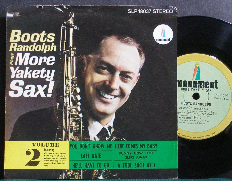 "BOOTS RANDOLPH~More Yakety Sax, Vol. 2~Monument 514 VG+ 7"" 33 RPM Mini LP, EP"