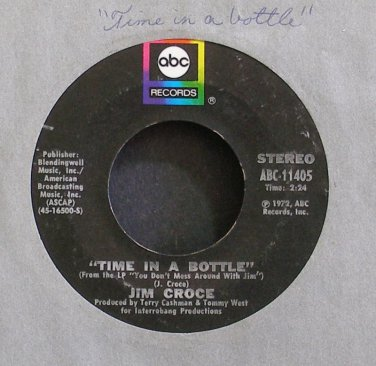 JIM CROCE~Time in a Bottle~ABC 11405 (Soft Rock) VG+ 45