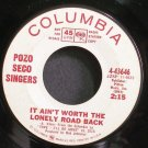 POZO SECO SINGERS~It Ain't Worth the Lonely Road Back~Columbia 43646 Promo 45