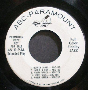 VARIOUS~Full Color Fidelity JAZZ~ABC-Paramount 1 (General Jazz) Promo VG+ 45 EP