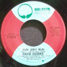 DAVID GEDDES~Run Joey Run~Big Tree 16044 (Soft Rock) VG+ 45