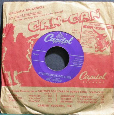 HANK THOMPSON~It's Better to Have Loved a Little~Capitol F2169 VG++ 45
