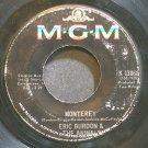 ERIC BURDON & THE ANIMALS~Monterey~MGM K13868 (Psychedelic Rock)  45