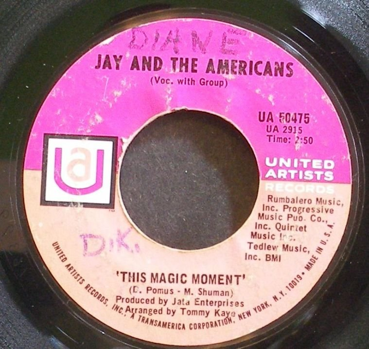 JAY & THE AMERICANS~This Magic Moment~United Artists 50475 (Soft Rock)  45
