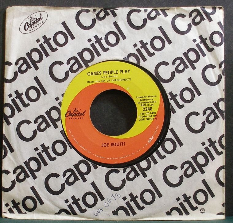 JOE SOUTH~Games People Play~Capitol 2248 (Classic Rock) VG+ 45