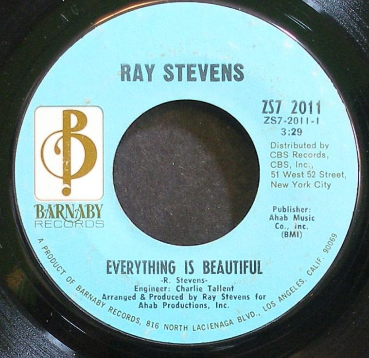 RAY STEVENS~Everything is Beautiful~Barnaby 2011 (Soft Rock) VG+ 45
