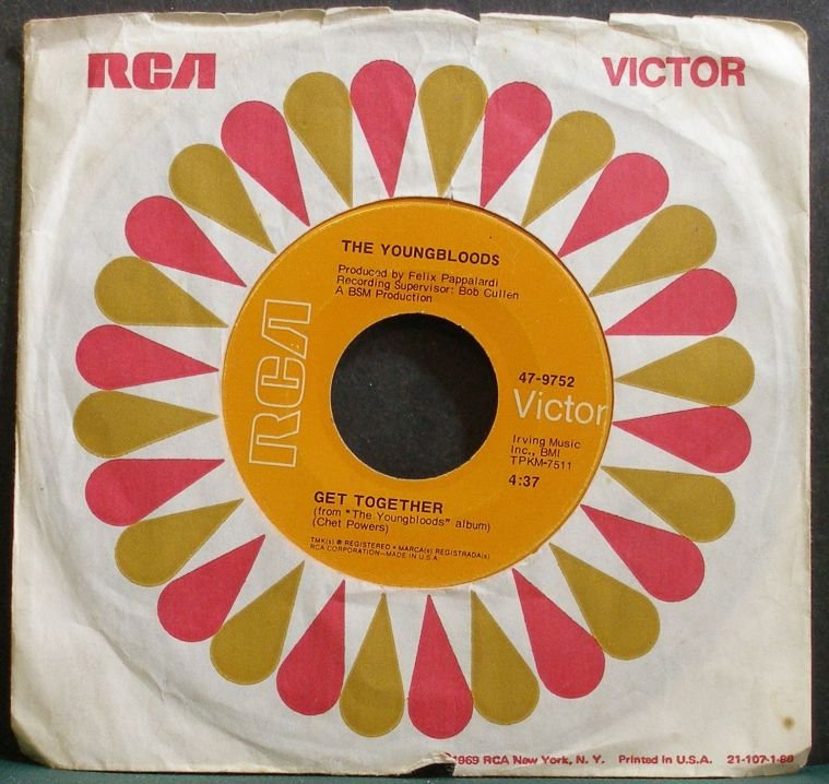 YOUNGBLOODS~Get Together~RCA Victor 9752 (Psychedelic Rock) VG+ 45