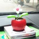 Red Solar Energy Swing Apple Flower Home/Car Decorative