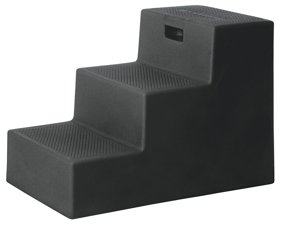3 Step Horse Mounting Block BLACK with storage High Country Plastics
