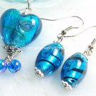 PE019 LAMPWORK GLASS HEART TURQUOISE EARRING PENDANT SET 300 SETS