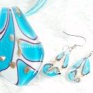 PE030 LAMPWORK GLASS BLUE LEAF PENDANT EARRINGS SET 300 SETS