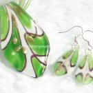 PE034 LAMPWORK GLASS GREEN LEAF PENDANT EARRINGS SET 300 SETS