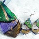 PE035 LAMPWORK GLASS GREEN LEAF PENDANT EARRINGS SET 300 SETS