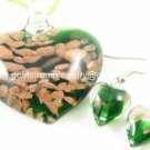 PE036 LAMPWORK GLASS GREEN HEART PENDANT EARRINGS SET 300 SETS