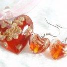 PE038 LAMPWORK GLASS RED HEART PENDANT EARRINGS SET 300 SETS