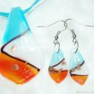 PE042 LAMPWORK GLASS LEAF PENDANT EARRING SET 300 SETS