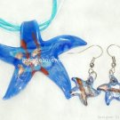 PE050 LAMPWORK GLASS NAVY STAR PENDANT EARRING SET 300 SETS