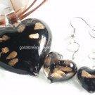 PE058 LAMPWORK GLASS BLACK HEART PENDANT EARRINGS SET 300 SETS