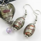 PE075 LAMPWORK GLASS SMOKY ROSE HEART PENDANT EARRINGS 300 SETS