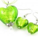 PE076 LAMPWORK GLASS GREEN HEART SILVER PENDANT EARRINGS SET 300 SETS
