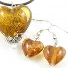 PE077 LAMPWORK GLASS GOLDEN HEART SILVER PENDANT EARRINGS SET 300 SETS