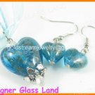 PE079 LAMPWORK GLASS AQUA HEART SILVER PENDANT EARRINGS SET 300 SETS