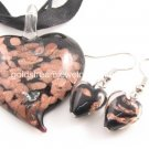 PE090 LAMPWORK GLASS BLACK HEART PENDANT EARRINGS SET 300 SETS