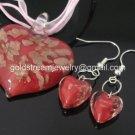 PE091 LAMPWORK GLASS RED HEART PENDANT EARRINGS SET 300 SETS