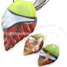 PE096 LAMPWORK GLASS LEAF PENDANT EARRINGS SET 300 SETS