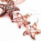 PE100 LAMPWORK GLASS RED STAR PENDANT EARRINGS SET 300 SETS