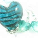 PE108 LAMPWORK GLASS STRIP HEART PENDANT EARRINGS SET 300 SETS