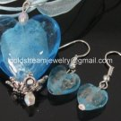 PE114 LAMPWORK GLASS BLUE HEART PENDANT EARRINGS SET 300 SETS