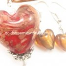 PE120 LAMPWORK GLASS RED HEART PENDANT EARRINGS SET 300 SETS