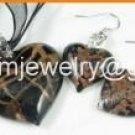 PE124 MURANO STYLE LAMPWORK GLASS BLACK HEART PENDANT EARRINGS SET 300 SETS