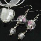 PE129 LAMPWORK GLASS WHITE HEART PENDANT EARRINGS SET 300 SETS