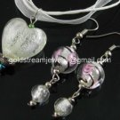 PE130 LAMPWORK GLASS WHITE HEART PENDANT EARRINGS SET 300 SETS