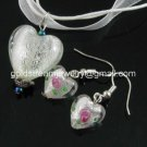 PE132 LAMPWORK GLASS WHITE HEART PENDANT EARRINGS SET 300 SETS