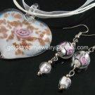 PE135 LAMPWORK GLASS WHITE HEART PENDANT EARRINGS SET 300 SETS
