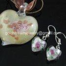 PE136 LAMPWORK GLASS GOLD FOIL MILKY HEART PENDANT EARRINGS SET 300 SETS