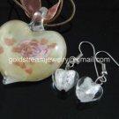PE137 LAMPWORK GLASS GOLD FOIL MILKY HEART PENDANT EARRINGS SET 300 SETS