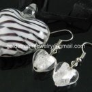 PE139 LAMPWORK GLASS STRO[ HEART PENDANT EARRINGS SET 300 SETS