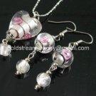 PE140 LAMPWORK GLASS HEART PENDANT EARRINGS SET 300 SETS