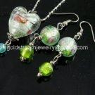 PE142 LAMPWORK GLASS GREEN HEART PENDANT EARRINGS SET 300 SETS