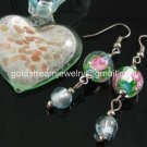 PE143 LAMPWORK GLASS MILKY GREEN HEART PENDANT EARRINGS SET 300 SETS