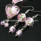PE144 LAMPWORK GLASS PINK HEART PENDANT EARRINGS SET 300 SETS