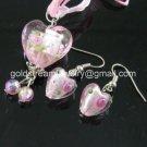 PE145 LAMPWORK GLASS PINK HEART PENDANT EARRINGS SET 300 SETS
