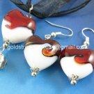 PE149 LAMPWORK GLASS RED HEART PENDANT EARRINGS SET 300 SETS