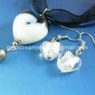 PE151 LAMPWORK GLASS BLACK HEART PENDANT EARRINGS SET 300 SETS