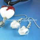 PE152 LAMPWORK GLASS RED HEART PENDANT EARRINGS SET 300 SETS
