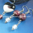 PE154 LAMPWORK GLASS DARK PURPLE HEART PENDANT EARRINGS SET 300 SETS
